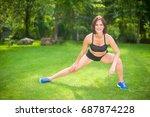 beautiful sporty woman doing...   Shutterstock . vector #687874228