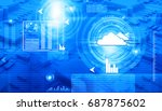 cloud computing concept  global ... | Shutterstock . vector #687875602