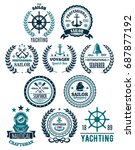 yachting and nautical seafarer... | Shutterstock .eps vector #687877192