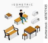 vector isometric wooden bench... | Shutterstock .eps vector #687877435