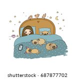 Stock vector a little girl and cute pugs are sleeping on the bed good night sweet dreams vector illustration 687877702