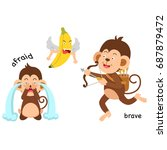 opposite afraid and brave... | Shutterstock .eps vector #687879472