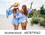 two beautiful blonde girls in... | Shutterstock . vector #687879562