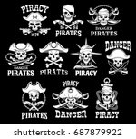 jolly roger skulls or pirate... | Shutterstock .eps vector #687879922