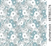 floral seamless pattern with... | Shutterstock .eps vector #687881176