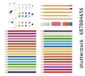 set of realistic 3d wooden... | Shutterstock .eps vector #687884656