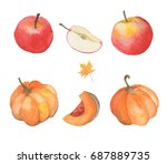 watercolor autumn set with... | Shutterstock . vector #687889735