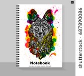 template cover a4 notebook with ... | Shutterstock .eps vector #687890086