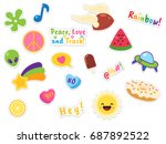 cute patches collection | Shutterstock .eps vector #687892522