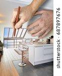 drawing renovation of a modern... | Shutterstock . vector #687897676