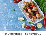Barbecue Of Chicken On Skewers...