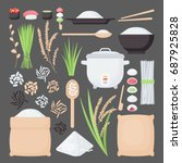 Rice Vector Flat Icon Set  Big...