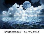 Big Full Moon In Night Sky Ove...