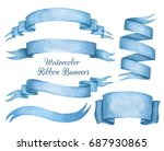 A Set Of Blue Watercolor Ribbon ...