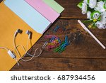 headphones are placed on... | Shutterstock . vector #687934456