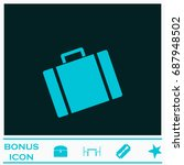 suitcase icon flat. simple blue ...