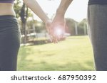 closeup of loving couple... | Shutterstock . vector #687950392
