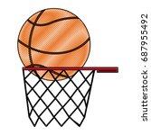 orange basketball ball basket... | Shutterstock .eps vector #687955492
