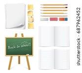 set of realistic 3d wooden... | Shutterstock .eps vector #687962452