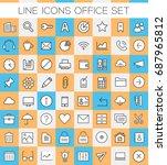big inline office icons... | Shutterstock .eps vector #687965812