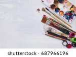 top view. pencil   paintbrush... | Shutterstock . vector #687966196
