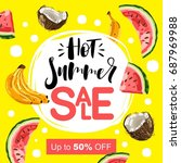 summer sale banner with pieces... | Shutterstock .eps vector #687969988