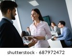 business people working at... | Shutterstock . vector #687972472