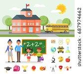 vector flat style illustration... | Shutterstock .eps vector #687974662