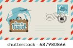 postal envelope with stamp and... | Shutterstock .eps vector #687980866