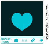 heart icon flat. simple blue...