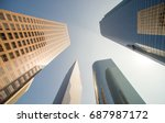 looking up downtown highrise at ... | Shutterstock . vector #687987172