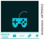 joystick icon flat. simple blue ...