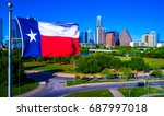 perfect texas flag flying over... | Shutterstock . vector #687997018
