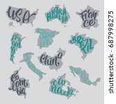 handwritten lettering with... | Shutterstock .eps vector #687998275