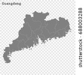 High Quality map of Guangdong is a province of China, with borders of the divisions
