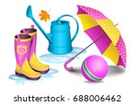 pink yellow gumboots in puddles ... | Shutterstock .eps vector #688006462
