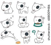 vector set of dog  bull terrier | Shutterstock .eps vector #688009486