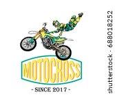 motocross rider badge logo... | Shutterstock .eps vector #688018252