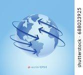 modern design of the world map... | Shutterstock .eps vector #688023925