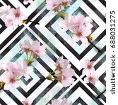 seamless watercolor cherry...   Shutterstock . vector #688031275