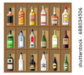 alcohol drinks collection.... | Shutterstock .eps vector #688034506