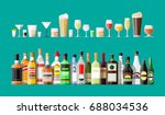 alcohol drinks collection.... | Shutterstock .eps vector #688034536