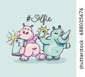 cartoon rhino and hippo taking... | Shutterstock .eps vector #688035676