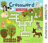 crosswords puzzle game of farm... | Shutterstock .eps vector #688042726