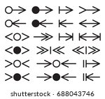 set of silhouettes arrows. | Shutterstock .eps vector #688043746