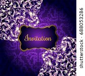 invitation card with lacy... | Shutterstock . vector #688053286