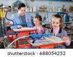 smiling pleasant schoolgirls... | Shutterstock . vector #688054252