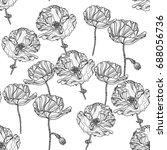 seamless monochrome floral... | Shutterstock .eps vector #688056736