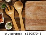 kitchen accessories on wooden... | Shutterstock . vector #688057045