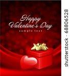 heart red shiny gift on silk... | Shutterstock .eps vector #68806528